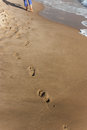 Footprints on the beach left by woman Stock Photography