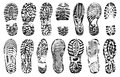 Footprints human shoes silhouette, vector set, isolated on white background.