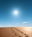 Footprints sand bright sunshine Stock Photos