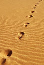 Footprints sand desert Royalty Free Stock Photo
