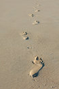 Footprints in sand walking alone the Stock Image