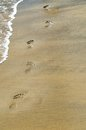 Footprints on the sea Royalty Free Stock Photo