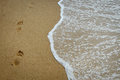 Footprints on the shore Royalty Free Stock Photo
