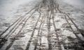 Footprints on the snowy sidewalk Royalty Free Stock Photo