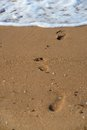 Footprints on the summer beach in focus Stock Photos
