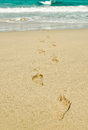 Footprints to the sea Royalty Free Stock Photo
