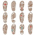 Footprints vector icons of boot shoe sole track print