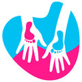 Footprints vector illustration of child and mother hands Royalty Free Stock Photography