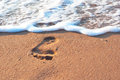 Footstep on the sand and sea spume coast Stock Image