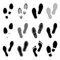 Footsteps. Footprints. Shoe and bare foot print. Shoes imprints set. Vector
