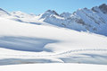 Footsteps on the snow melchsee frutt switzerland Stock Photography
