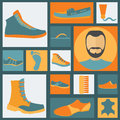 Footwear elements icons set easily edited vector illustration Royalty Free Stock Images