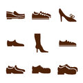 Footwear icon set, vector collection of shoes pictograms.