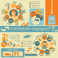 Footwear infographics elements easily edited vector illustration Stock Image