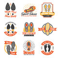 Footwear Labels With Footprints  Icons Set Royalty Free Stock Photo