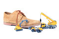 Footwear manufacturing beautiful concept shot showing Royalty Free Stock Photography
