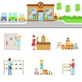 Footwear Store Exterior And People Shopping Set Of Illustrations