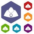 Forage cap icons set hexagon