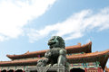 Forbidden city in beijing bronze lion statue front of gate of supreme harmony china Stock Image