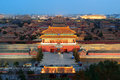 Forbidden city at dusk beijing with ancient pagoda architecture Stock Photo