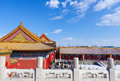 Forbidden city after snow colorful building and golden roofs in the beijing china Stock Photography