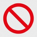 Forbidden Sign - Transparent Background Royalty Free Stock Photo