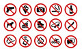 Forbidden signs the collection of set of icons Royalty Free Stock Image
