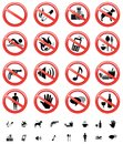 Forbidden signs set Royalty Free Stock Images