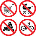 Forbidding vector signs no roller skate no biking no baby carriage and no shopping cart Royalty Free Stock Photography