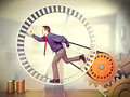 Forced labour businessman run in huge hamster wheel Stock Photos