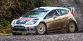 Ford fiesta rally car focus wrc engine taking part in the cambrian one of the oldest events in the uk february th Stock Photo