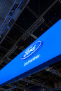 Ford logo and slogan at Paris Motor Show 2012 Royalty Free Stock Image