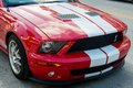 Ford mustang gt a beautiful red with white stripes cobra Royalty Free Stock Image