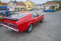 Ford mustang mach mod the image is shot at a fish market in halden norway where there every wednesday during the summer months are Royalty Free Stock Photos