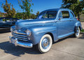 Ford super deluxe coupe a blue classic car front side view Stock Image