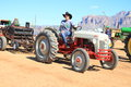 Ford tractor pulling back sledge other tractors competition have to pull along pull track competition took place apache junction Stock Photography