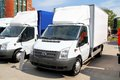 Ford transit ufa russia may white light cargo van at the city street Stock Image