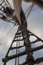 Fore main mizzen shrouds of sailing ship frigate xvii century Stock Images