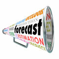 Forecast bullhorn or megaphone for prediction estimate projectio word on a with related terms like estimation projection guess and Stock Photography