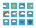 Forecast weather icons set on blue buttons Royalty Free Stock Photography