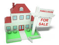 Foreclosure house a with a giant sign in it Stock Images