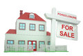 Foreclosure house a with a giant sign in it Royalty Free Stock Images