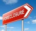 Foreclosure sign concept.