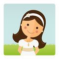 Foreground girl with communion dress Royalty Free Stock Photo