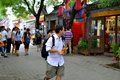 A foreign man in beijing hutong tour the from the uk he like chinese culture very much Stock Images