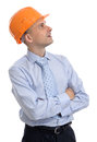 Foreman with hard hat looking up portrait of happy young Stock Photography