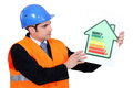 Foreman holding panel Royalty Free Stock Images