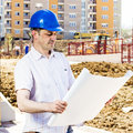 Foreman looking the project on construction site Stock Images