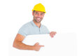 Foreman pointing at blank board on white background Royalty Free Stock Photo