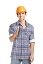 Foreman in range hard hat handing elevation meter half length portrait of isolated on white concept of restoration and engineering Royalty Free Stock Photo